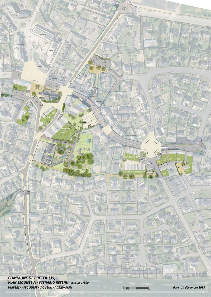 Vue du projet du centre bourg de Bréteil, réalisé par l'Agence Univers